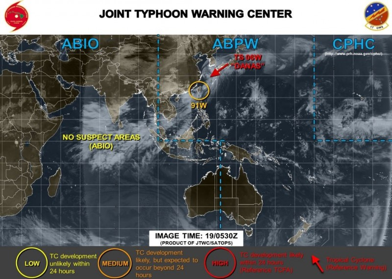 美軍對91W低壓區發布橙色警示。(圖擷取自JTWC)