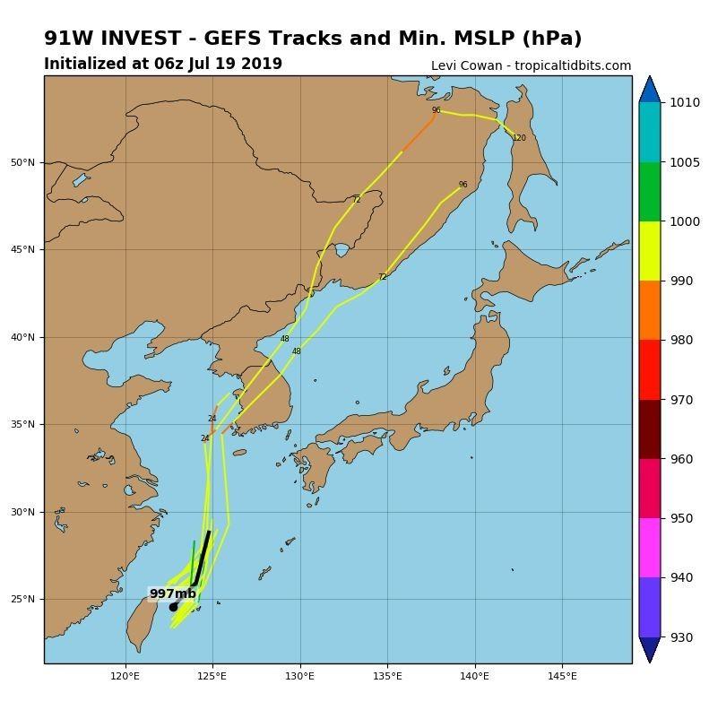91W正逐漸朝北北東方向移動,前往中國東海靠近南韓。(圖擷取自tropicaltidbits)
