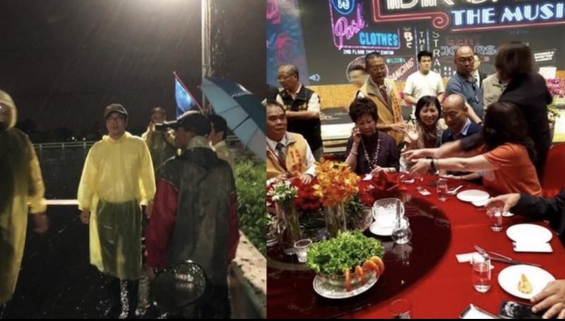 陳其邁昨晚到高雄視察,韓國瑜則出席餐飲工會活動,市府今仍特別發出聲明堅稱是公務行程。(左圖取自陳其邁臉書,右圖取自臉書粉絲專頁「林后可可園」)