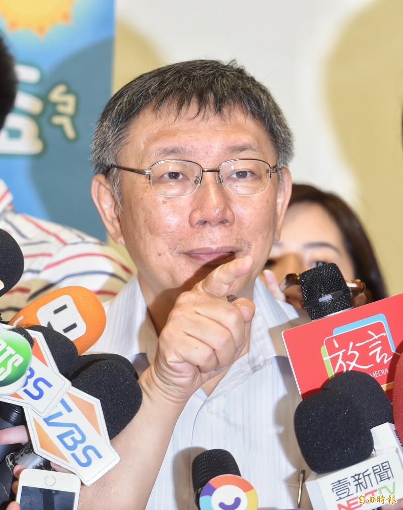 台北市長柯文哲今出席「獺獺盃團圓派對暨親子館聯合運動會」,並接受媒體採訪。(記者方賓照攝)