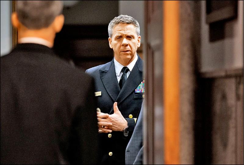 美軍印太司令部司令戴維森去年四月間準備出席參議院聽證會的神情。(美聯社)