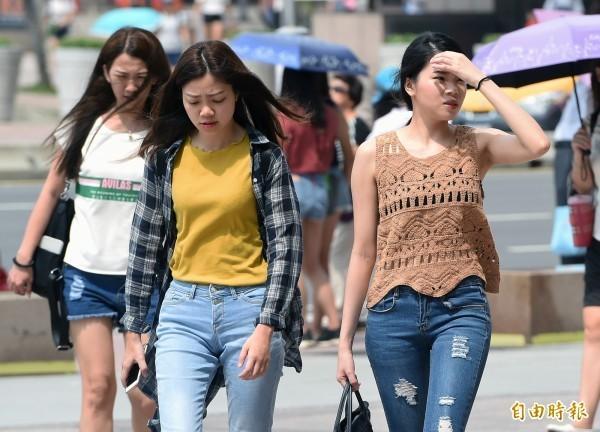 氣象局持續對新北市發布高溫橙色燈號,其他包含台北、桃園、新竹縣、苗栗、花蓮、台東則是黃色燈號。(資料照)