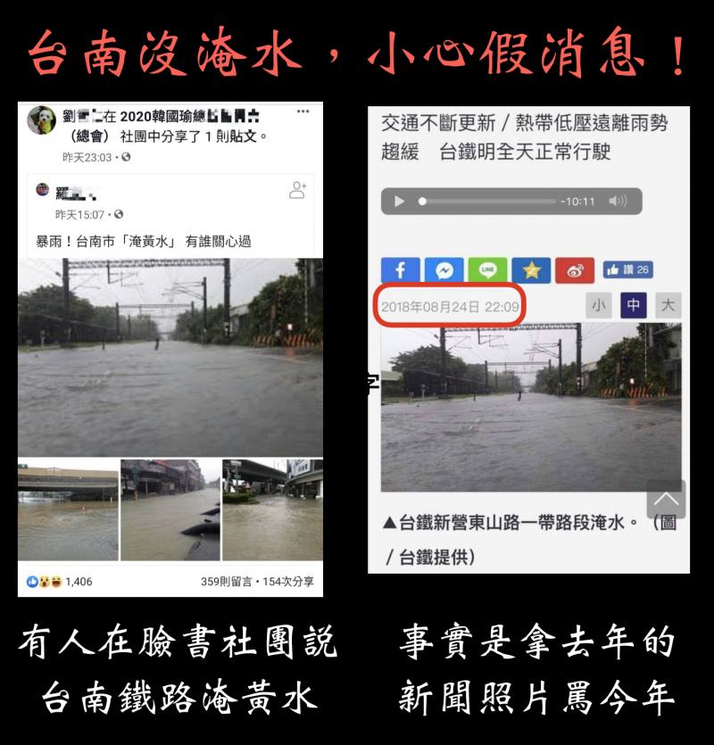 南市府指責台南淹水災情假新聞。(市府提供)