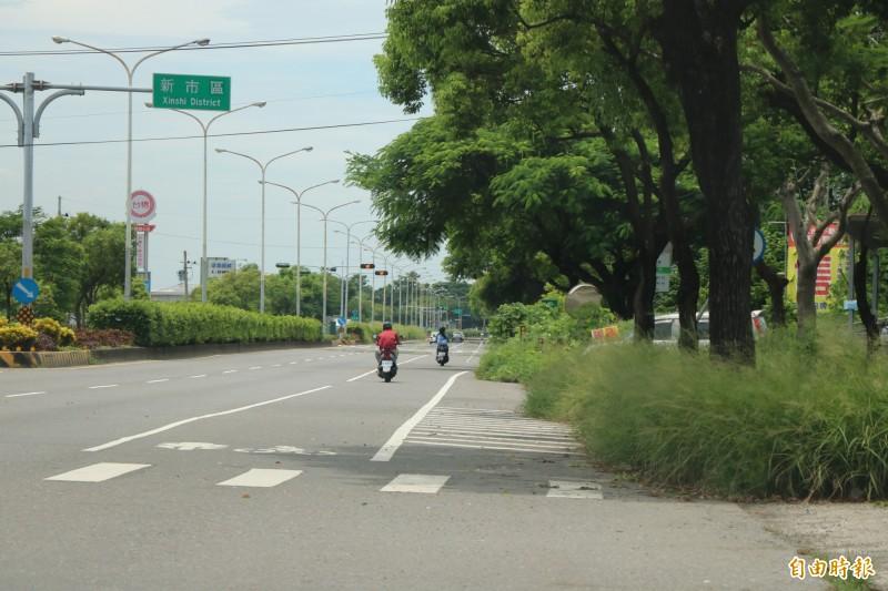 台一線省道善化、新市段路邊兩旁雜草叢生,讓環境也顯得雜亂,公路局預計8月上旬可開始清理。(記者萬于甄攝)