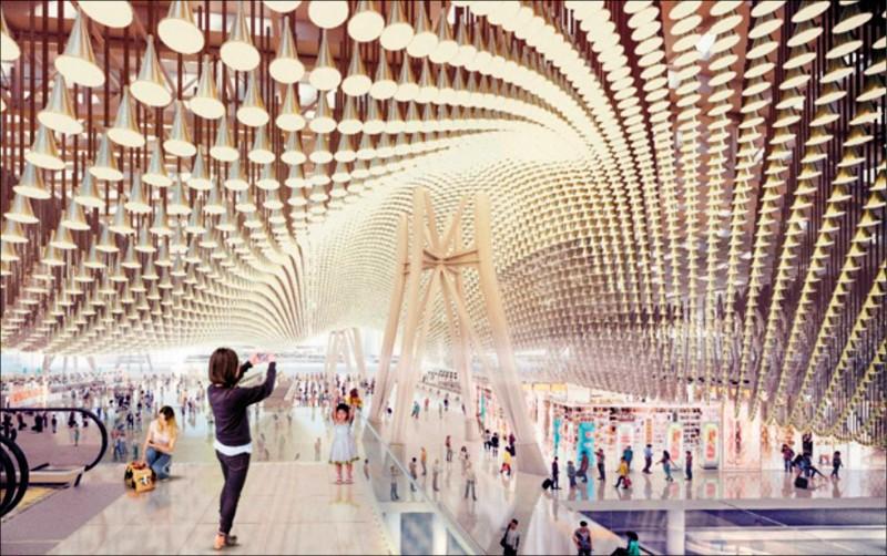 桃園國際機場第三航廈由英國團隊設計,大廳屋頂更用13萬個花瓣流動造型鋁管,壯觀美麗。(圖:取自桃機公司官網)