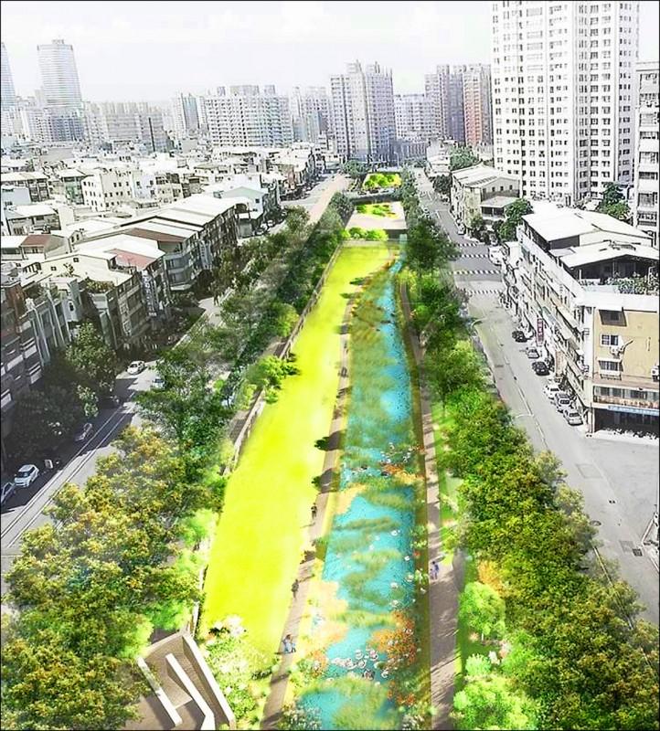 柳川整治完工後,水利局表示,兩岸會新植柳樹跟其他台灣原生種類喬木,綠地跟灌木叢會比以前更多。(水利局提供)