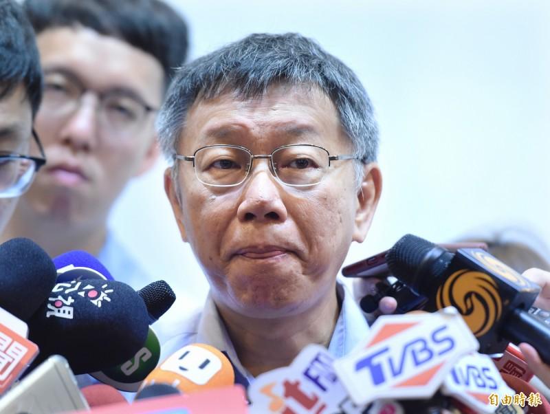 台北市長柯文哲今早受訪被問到對「白衣人士痛打港人」的看法,不明確的回應讓網友怒轟根本是在「閃躲問題」。圖為柯文哲。(資料照)