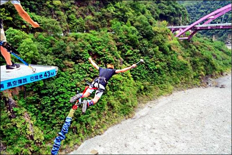 「高空彈跳」深受民眾喜愛,不過目前全市僅一處由市府風景區管理處管理的巴陵吊橋可合法申請使用。(市府觀光旅遊局提供)