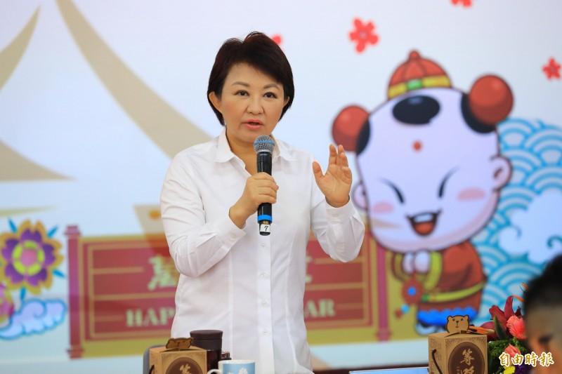 盧秀燕強調自由民主不容暴力。(記者張軒哲攝)