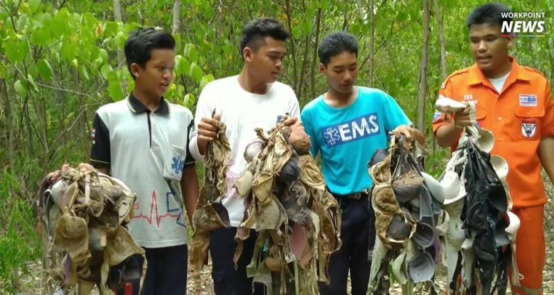 泰國警方獲報「村莊220件各式各樣胸罩被偷」,在樹上、樹林中被發現。(圖擷自workpoint)