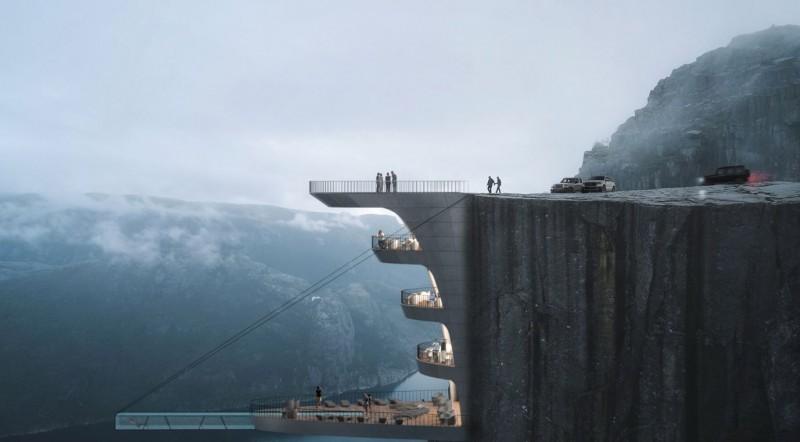 土耳其建築設計工作室Hayri Atak,為挪威聖壇岩(Preikestolen)規劃了一間懸崖飯店。(圖擷自Hayri Atak網站)