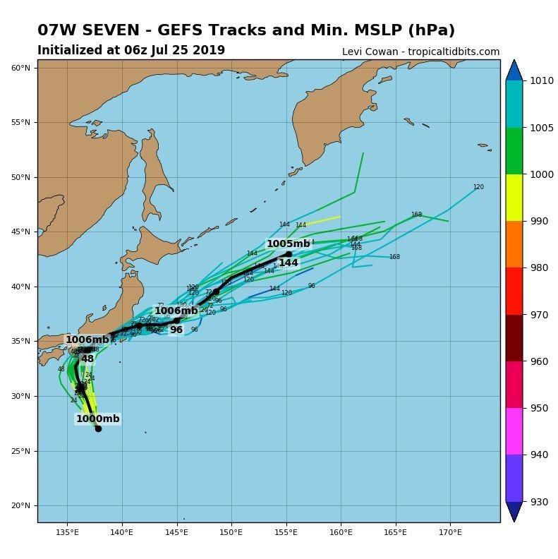 全球預報系統(GFS)路徑預測圖顯示,該熱低恐橫掃日本本州。(圖擷取自tropicaltidbits)