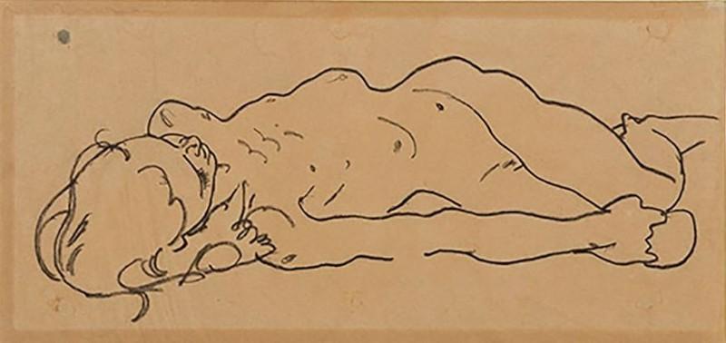 美國男子在舊貨店找到一張圖紙,竟是奧地利表現主義畫家席勒(Egon Schiele)的畫作,估價最高可達20萬美元(約新台幣620萬元)。(圖擷自Galerie St. Etienne)