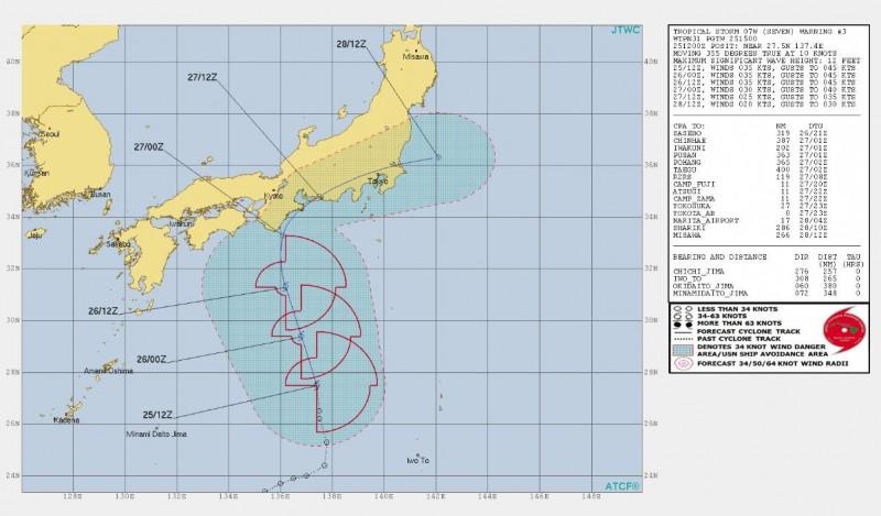 美軍對該熱帶性低氣壓做出路徑預測,顯示它登陸日本後恐從千葉縣出海。(圖擷取自JTWC)