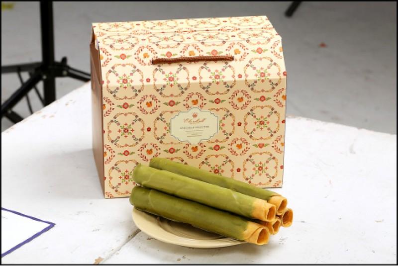 'O ka roll roll餅乾蛋捲:: Matcha抹茶巧克力口味(一盒12入)/360元(記者沈昱嘉/攝影)
