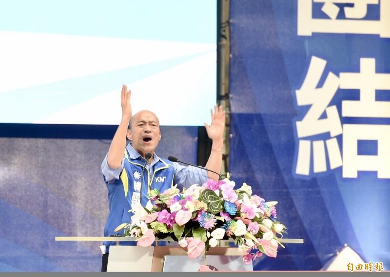 國民黨今(28)日舉行全代會,提名高雄市長韓國瑜參選總統。台南韓友會則在台南同步發起「我挺韓,我幸福」慶祝活動,發放免費餐點。(記者羅沛德攝)