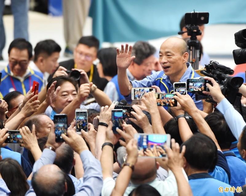 韓國瑜今正式被國民黨提名為2020年總統參選人,不少高雄人氣炸。(記者方賓照攝)