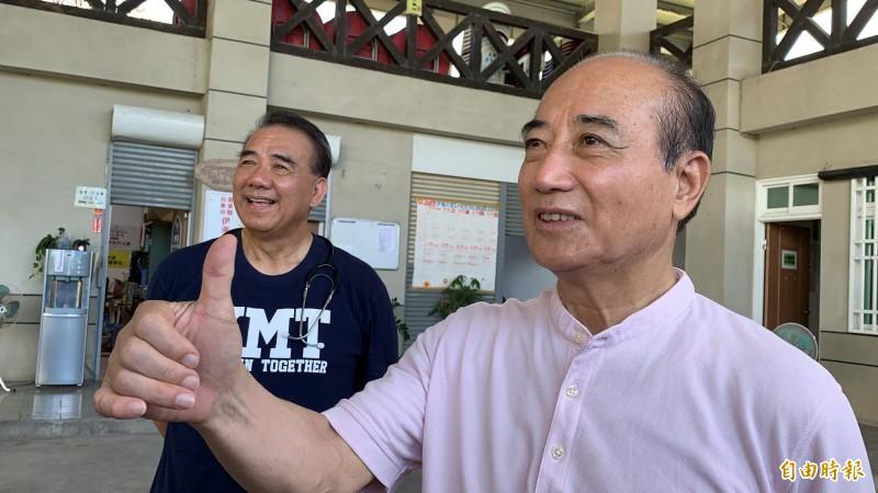 立法院前院長王金平一度說團結就是支持韓國瑜選總統,1分鐘後改口說團結是支持中華民國。(記者王秀亭攝)
