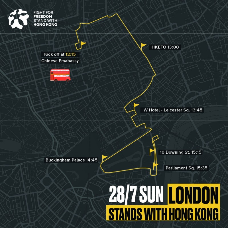 反送中雙層巴士巡迴倫敦市區的路線。(圖擷取自Fight for Freedom. Stand with Hong Kong.臉書)