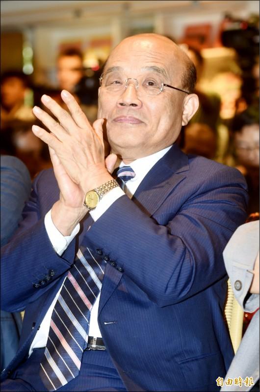 行政院長蘇貞昌批韓國瑜在林鄭月娥面前屈膝。(記者簡榮豐攝)