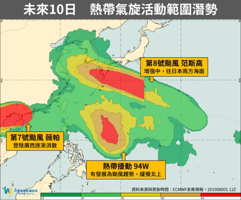 天氣風險公司製圖說明颱風薇帕、范斯高及熱帶擾動94W未來10天的預計活動範圍。(擷取自「天氣風險 WeatherRisk」臉書)