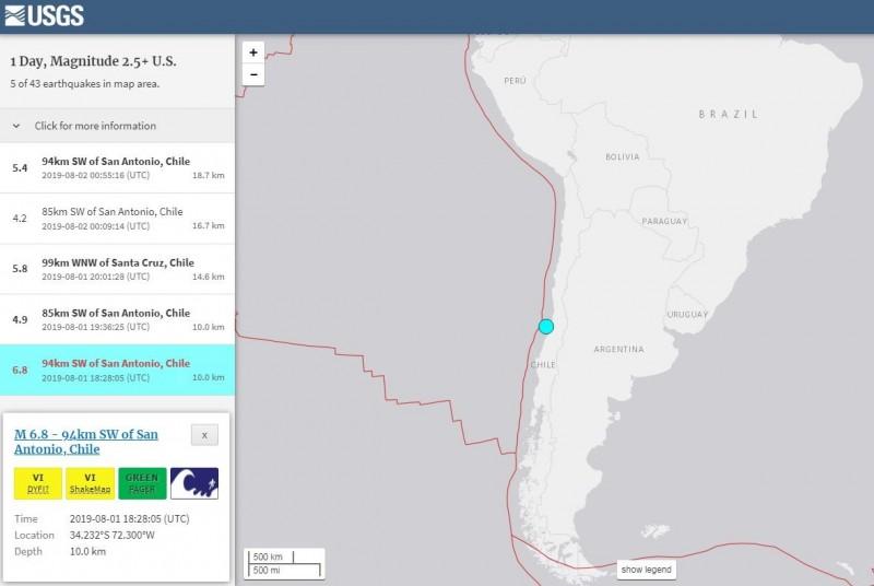 南美洲國家智利在台灣時間今天凌晨發生芮氏規模6.8強震。(擷取自USGS)
