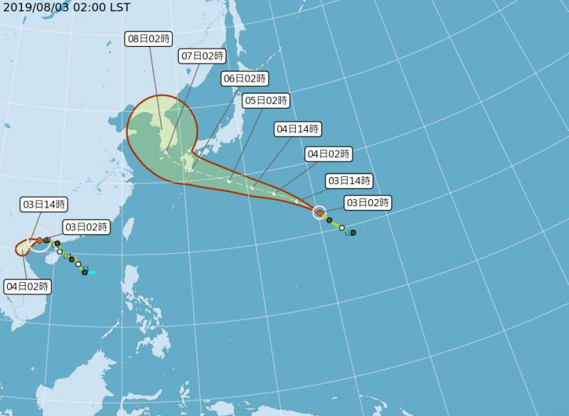 今年第8號颱風「范斯高」生成後直撲日韓地區,對台灣目前無直接影響。(圖擷取自中央氣象局)