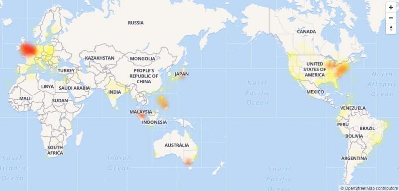 臉書今晚9點起發生全球大當機,不少用戶提出異常回報。(圖擷取自「DownDetector」診斷網站)