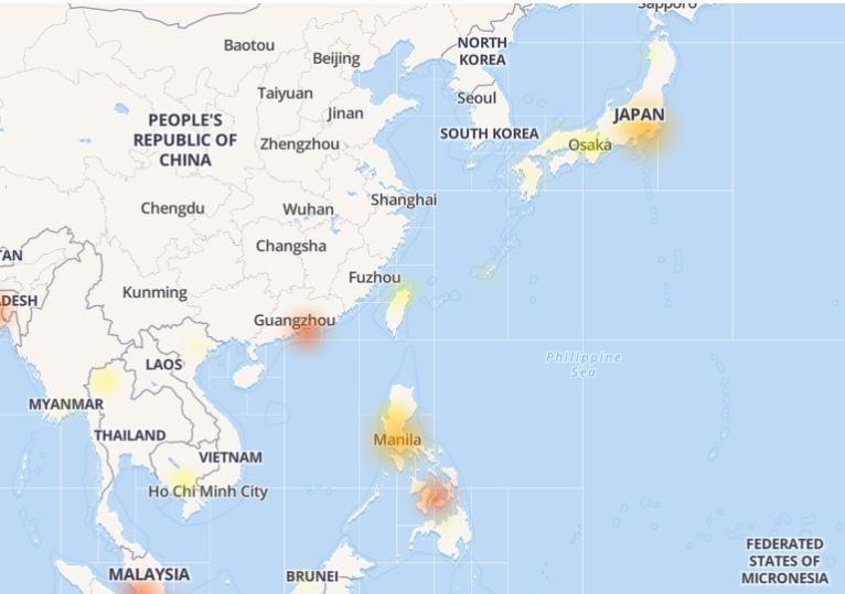 亞洲也發生臉書當機災情,以香港、菲律賓與日本最為嚴重。(圖擷取自「DownDetector」診斷網站)