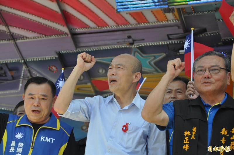 中國國民黨總統參選人、高雄市長韓國瑜(中)這週末勤跑行程,呼籲支持者團結。(資料照,記者周敏鴻攝)