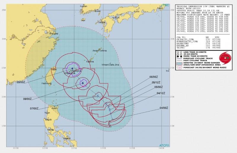 聯合颱風警報中心已經將菲東熱低升格為熱帶低壓10W,首報預測會往琉球南方海域前進,接近台灣。(JTWC)