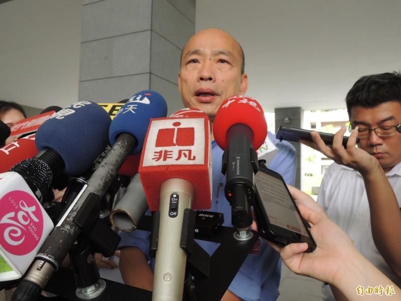 針對香港大罷工,韓國瑜強調台灣立場一定支持香港民主自由。(記者王榮祥攝)