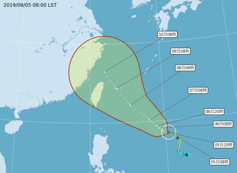 氣象局預計週五、六(9、10日)最接近台灣,屆時颱風強度將達中度颱風等級,暴風圈有機會壟罩中部以北。(中央氣象局)