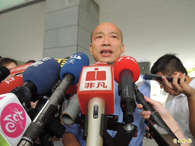 韓國瑜今受訪時表示「如果香港動亂持續下去,不光是香港的損失,也會是台灣重大的損失」,言詞間露餡引發爭議。(記者王榮祥攝)