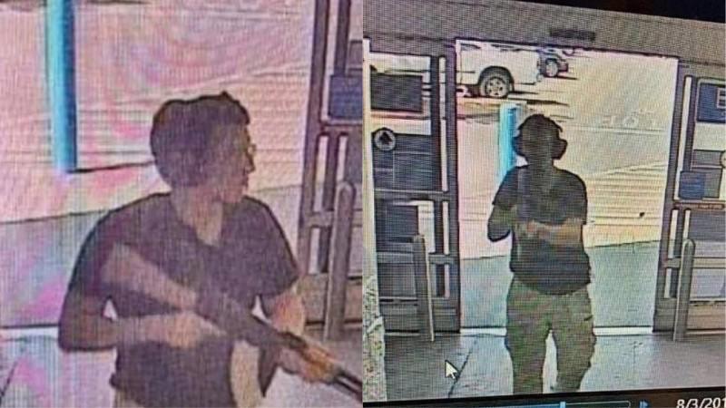 美國德州大城艾爾帕索發生大規模槍擊案造成20死26傷。檢察官表示,視這起案件為國內恐攻,並會將對兇嫌求處死刑。圖為監視器拍到兇嫌的畫面。(法新社)
