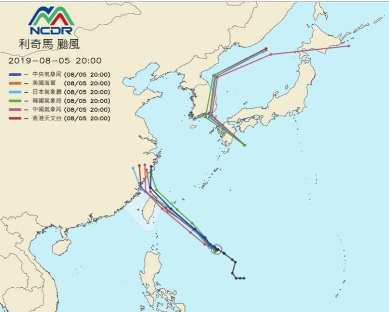 國家災害防救科技中心(NCDR)也統整各國氣象單位對利奇馬的路徑預報,日、美等預估「利奇馬」將登陸;台、韓則預估「利奇馬」會從北部近海通過。(圖擷取自國家災害防救科技中心NCDR)
