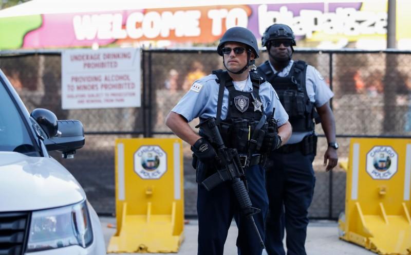 美國連傳槍響,除了德州20死26傷、俄亥俄州9死27傷之外,伊利諾州芝加哥也有7人在公園中彈受傷,加州朗代爾(Lawndale)則出現1死4傷的槍擊案。芝加哥警察示意圖。(法新社)