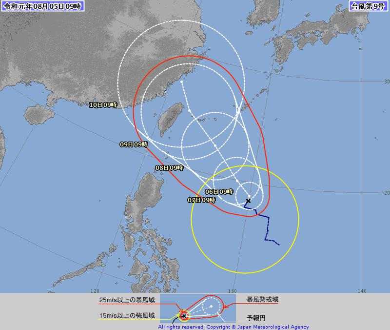 日本氣象廳更認為利奇馬中心會更接近北台灣,有出現西北颱的可能性。(日本氣象廳)