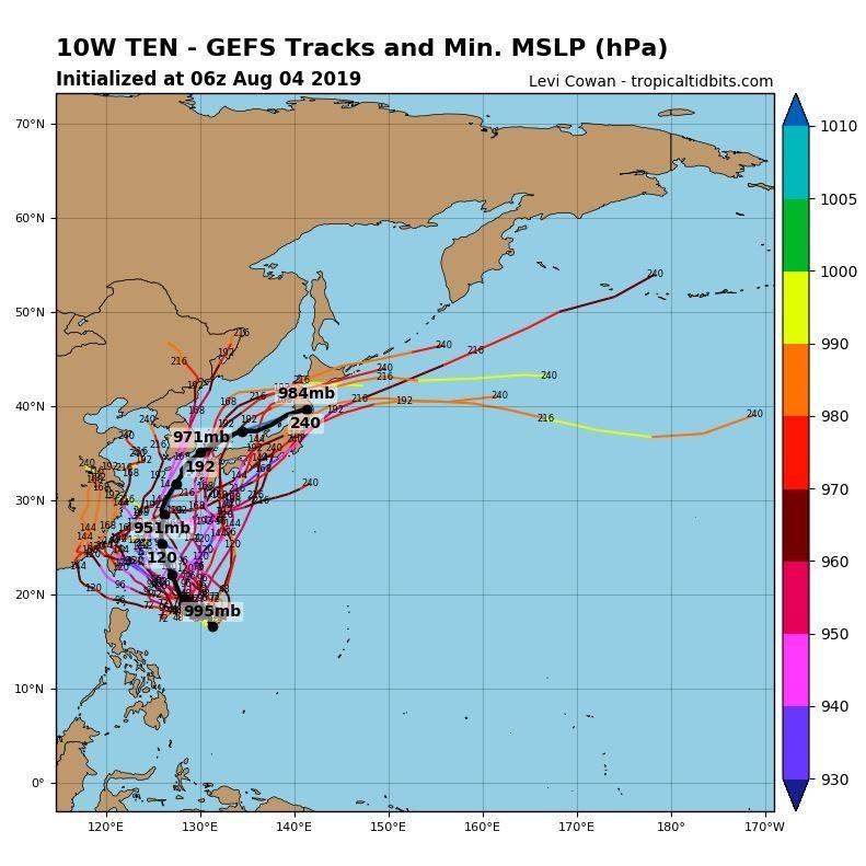 最新全球預報系統模擬路徑圖可見,過半數路徑均顯示颱風會影響台灣。(圖擷取自tropicaltidbits)