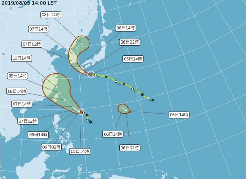 9號颱風利奇馬有機會增強為中度颱風,中央氣象局預估,利奇馬路徑可能通過東北部近海,若路徑偏西不排除有登陸可能。(圖擷取自中央氣象局)