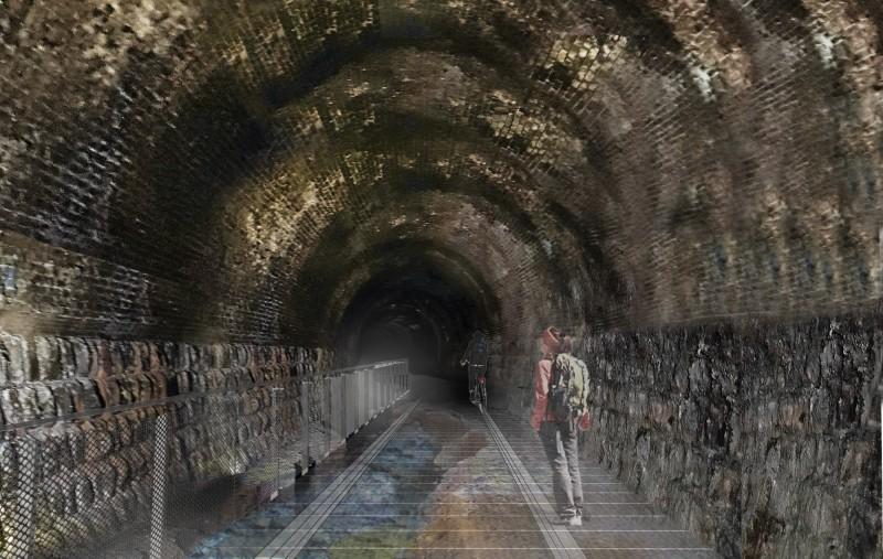 舊三貂嶺隧道、三瓜子隧道將闢建自行車道,圖為完工示意圖。(新北市工務局提供)