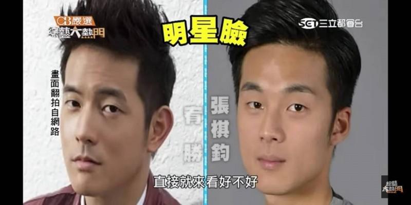 張棋鈞(右)因神似藝人宥勝(左),曾上過電視節目比明星臉。(圖:仁武警分局提供)
