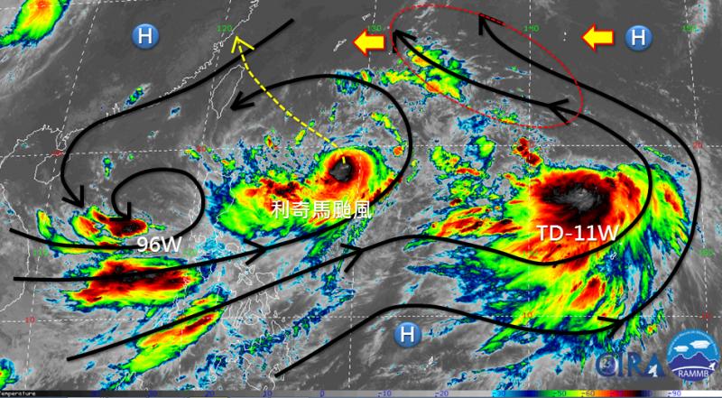 分析師吳聖宇表示,利奇馬現處於季風低壓槽中,東邊、西邊各有擾動在發展,一直到今晚都會呈慢速移動狀況。(圖擷自「天氣職人-吳聖宇」臉書)
