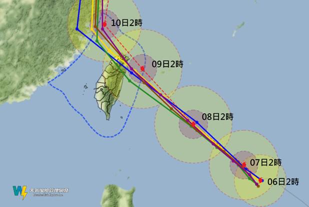 今年第9號颱風利奇馬來勢洶洶,天氣風險管理公司總經理彭啟明指出,週三可能陸續發布的海上或陸上警報,週五清晨颱風中心則有機會登陸北台灣。(圖擷自「氣象達人彭啟明」臉書)