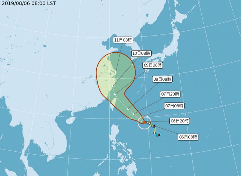 氣象局利奇馬颱風預估路徑。(取自氣象局網站)