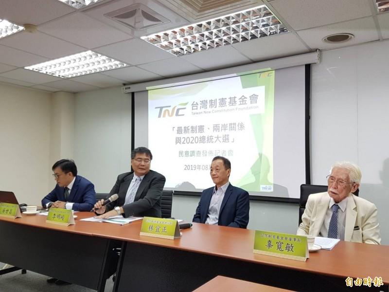 台灣制憲基金會今發布「最新制憲、兩岸關係與2020總統大選」民調記者會。(記者謝君臨攝)