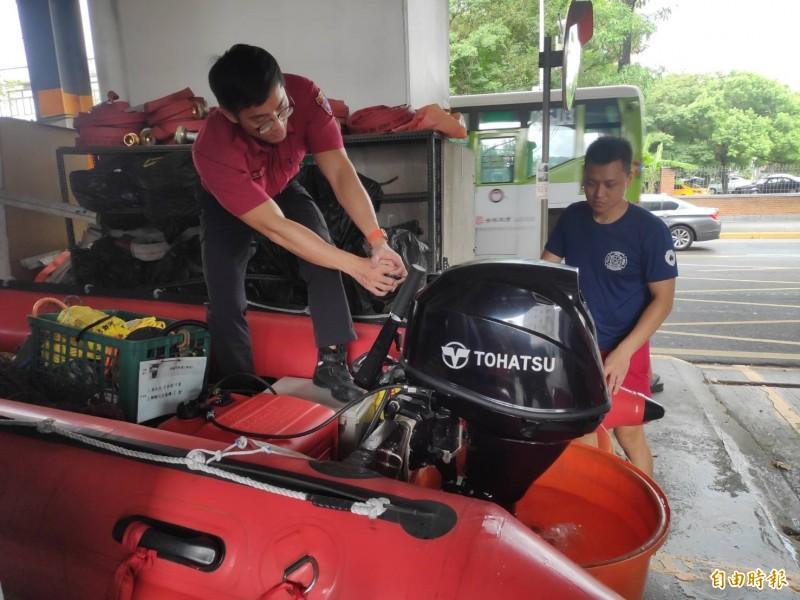 利奇馬颱風逼近北台灣,台北市消防局加強各種防颱整備。(記者姚岳宏攝)