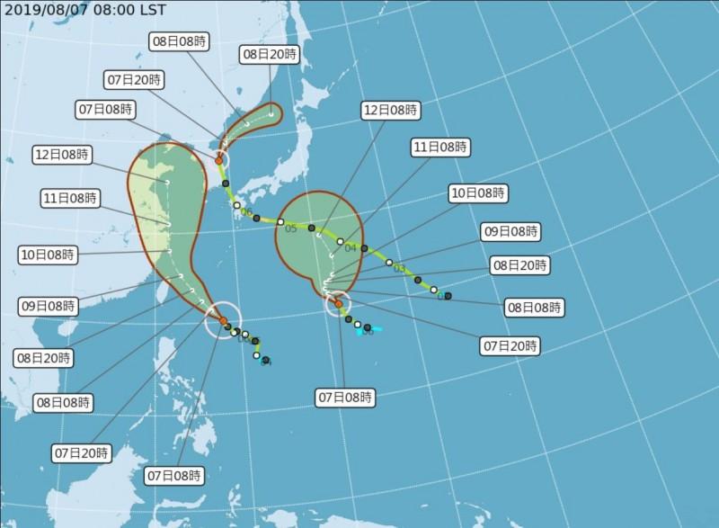 第9號颱風利奇馬已增強為中度颱風,中央氣象局最新預報指出,利奇馬路徑將往東修正,預計下午2點30分發布海上颱風警報機率最高。(擷自中央氣象局)