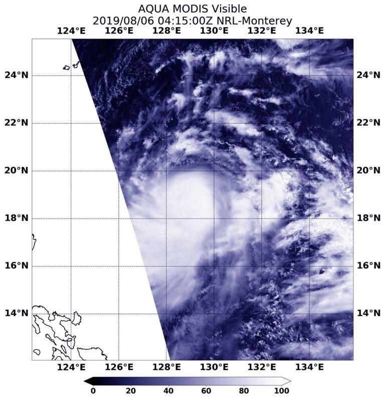 美國太空總署(NASA)根據衛星影像指出,利奇馬的颱風中心有強烈的暴風雨。(圖擷取自NASA)