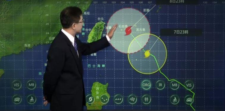氣象局預報,颱風會通過台灣東北方海面,不會登陸台灣,花蓮首先被影響。(圖擷取自中央氣象局)
